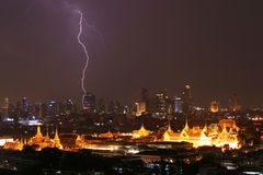 Lightning strike over Grand Palace Thailand Stock Photo