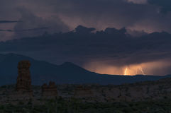 Lightning strike over La Sal Mountains Royalty Free Stock Images