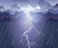 Lightning strike and rain. Lightning strike.Vector rain image with dark clouds Stock Images