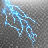 Lightning strike. Rain template with flash. EPS 10 Stock Images