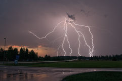Lightning strike in Sweden Stock Images
