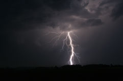 Lightning strike in Sweden. Photo taken in Sweden showing a lightning strike Stock Photo