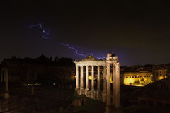 Lightning strike at the temple of Saturn Stock Images