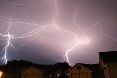 Lightning strike thunderstorm. Lightning weather bolt thunderstorm flash rain Stock Photo
