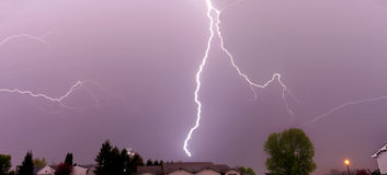 Lightning strike thunderstorm Royalty Free Stock Images