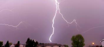 Lightning strike thunderstorm. Lightning weather bolt thunderstorm flash rain Royalty Free Stock Images