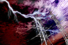 Lightning strike to power line. Pillar on the background of sky stock image