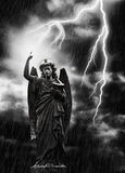 Lightning Strikes the Angel Gabriel Stock Photography