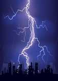Lightning strikes in big city Stock Photo