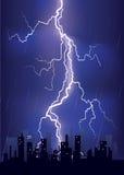 Lightning strikes in big city Stock Photo