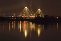 Lightning Strikes a Bridge 7179 Royalty Free Stock Image