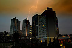 Lightning strikes building Royalty Free Stock Image