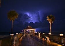 A lightning strikes captured from Clearwater beach pie royalty free stock photography