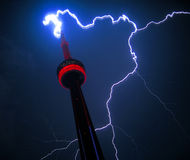 Lightning Strikes CN Tower Toronto Royalty Free Stock Images