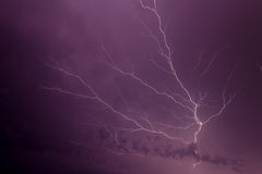 Lightning Strikes & Crosses the SKy Stock Photography