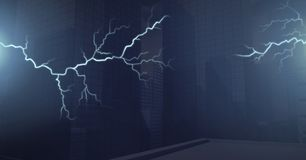 Lightning strikes and dark city background. Digital composite of Lightning strikes and dark city background vector illustration