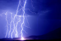 Lightning strikes the earth. Lightning strikes earth. city Eghvard stock photography