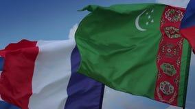 Lightning strikes in French flag. Turkmen, Russian flags. France, Turkmenistan. Stock footage stock footage
