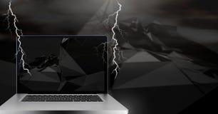 Lightning strikes and laptop. Digital composite of Lightning strikes and laptop Stock Image