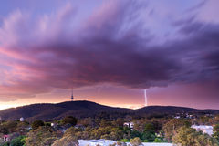 Lightning Strikes near Telstra Tower. Lighting strikes close by Telstra Tower on Black Mountain in Canberra Australia Royalty Free Stock Photos