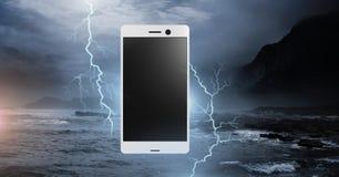 Lightning strikes and phone. Digital composite of Lightning strikes and phone Royalty Free Stock Image