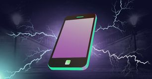 Lightning strikes and phone. Digital composite of Lightning strikes and phone Royalty Free Stock Images
