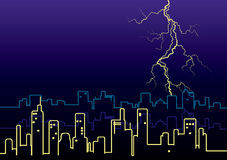 Lightning strikes and rain in big city. Royalty Free Stock Photo