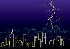 Lightning strikes and rain in big city. Royalty Free Stock Photo