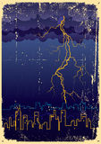 Lightning strikes and rain in big city.Vintage Stock Photo