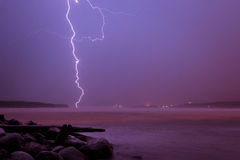 Lightning strikes in the river Royalty Free Stock Image