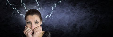 Lightning strikes and scared afraid woman. Digital composite of Lightning strikes and scared afraid woman Stock Images