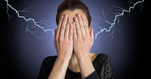 Lightning strikes and scared afraid woman. Digital composite of Lightning strikes and scared afraid woman Stock Image