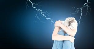 Lightning strikes and scared sad woman. Digital composite of Lightning strikes and scared sad woman Stock Image