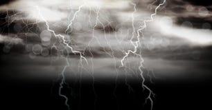 Lightning strikes in sky. Digital composite of Lightning strikes in sky Stock Photos