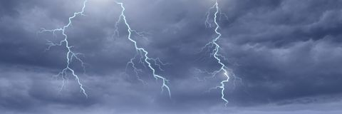 Lightning strikes in sky. Digital composite of Lightning strikes in sky Royalty Free Stock Photos