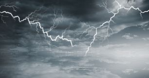 Lightning strikes in sky. Digital composite of Lightning strikes in sky Stock Photo