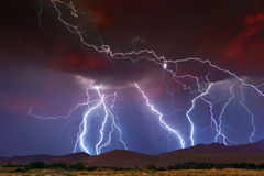 Lightning Strikes. Stormy Skies with multiple lightning strikes Royalty Free Stock Image