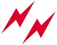 Lightning strikes symbol. Closeup of lightning strike symbol on white background Stock Photos