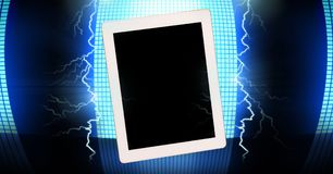 Lightning strikes and tablet. Digital composite of Lightning strikes and tablet Stock Photography