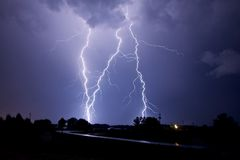 Lightning strikes three times! Royalty Free Stock Photos