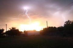Lightning Striking House Stock Photography