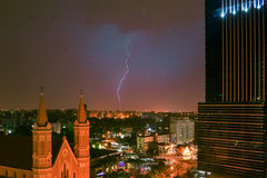 Lightning striking over the city of Curitiba - Paraná Stock Image