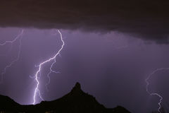 Lightning Striking at Pinnacle Peak Stock Photography