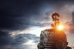 Concept of financial crisis. Mixed media. Lightning striking stone dollar sign. Mixed media Stock Photography