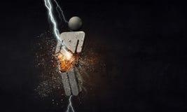 Male stone symbol. Mixed media. Lightning striking stone male figure. Mixed media Royalty Free Stock Photos