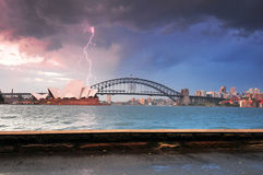 Lightning Strom on Opera House Sydney Stock Images