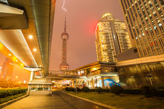 Lightning struck the Oriental Pearl Tower Royalty Free Stock Photography