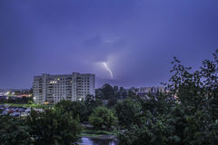 Lightning at the summer. Lightning at the evening summer sky at rainy day royalty free stock images