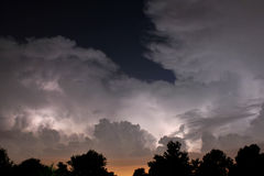 Lightning summer nights. Heat lightning during a thunderstorm in south Louisiana Stock Photo