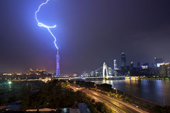 Lightning. Summer, rainy night in Guangzhou, lightning struck the landmark in Guangzhou City, Guangzhou TV Tower Royalty Free Stock Image